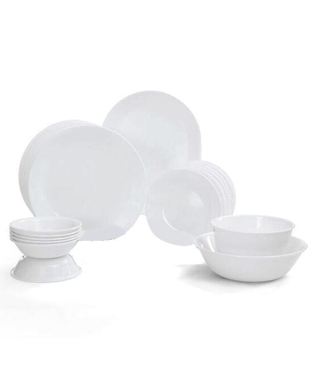 Corelle 21 Pcs Dinner Set- Livingware Winter Frost White By Merahomestore