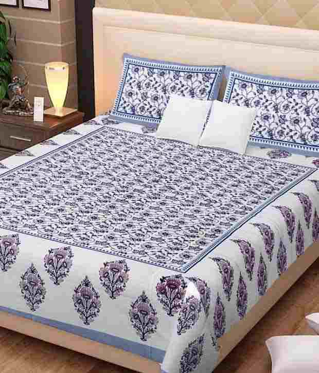 Kismat Collection Rajsthani Royal Exclusive Print Double Bed Sheet With 2 Pillow Cover