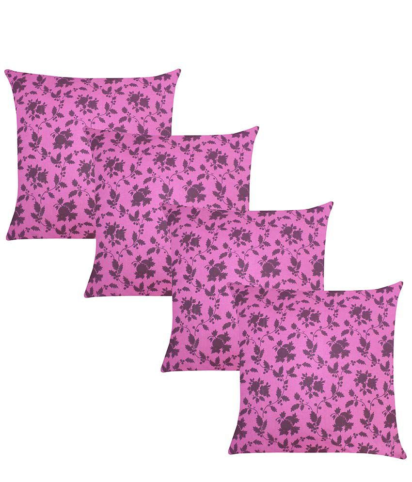Reliable Trading Purple Cotton Floral Cushion Cover - Set Of 4