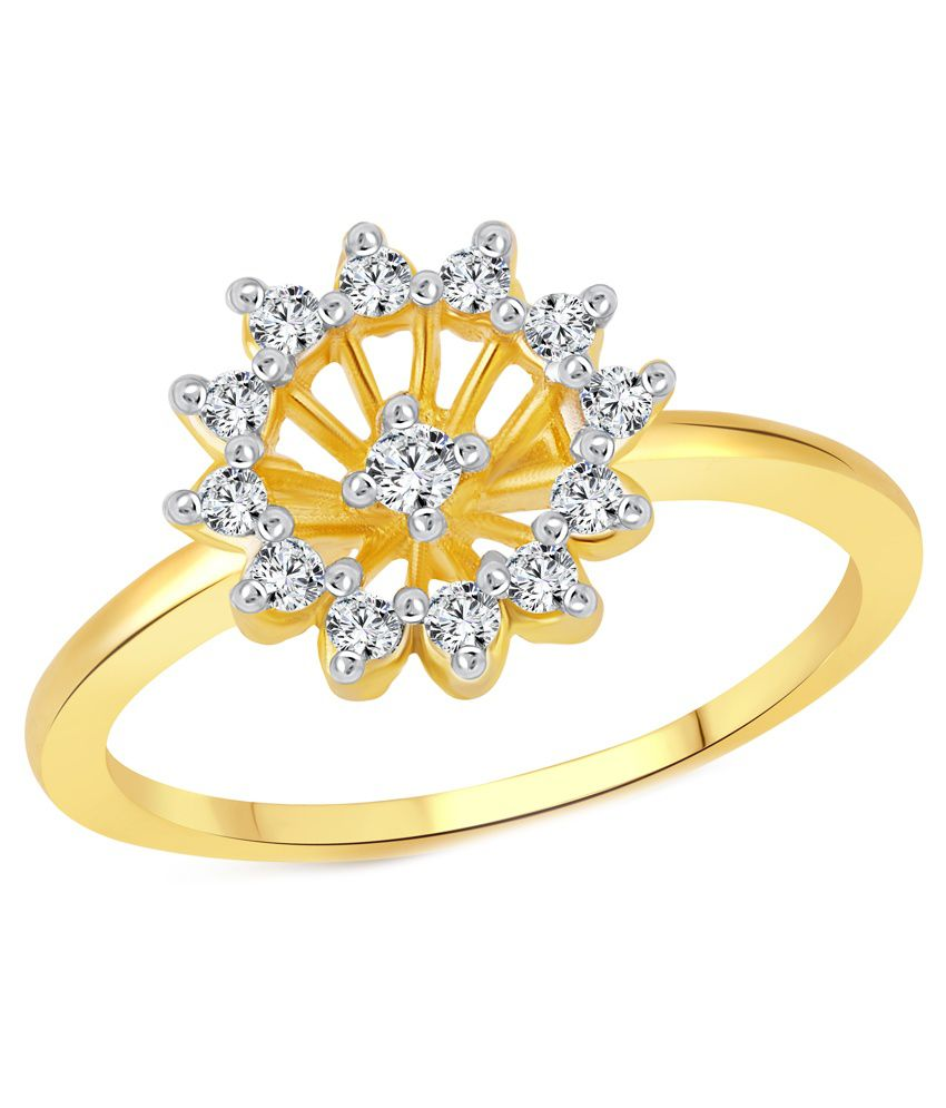 Vighnaharta Cluster Flower Cz Gold And Rhodium Plated Ring