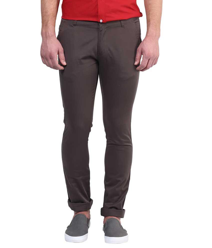 Bukkl Graphite Grey Slim Fit Casual Trouser For Men