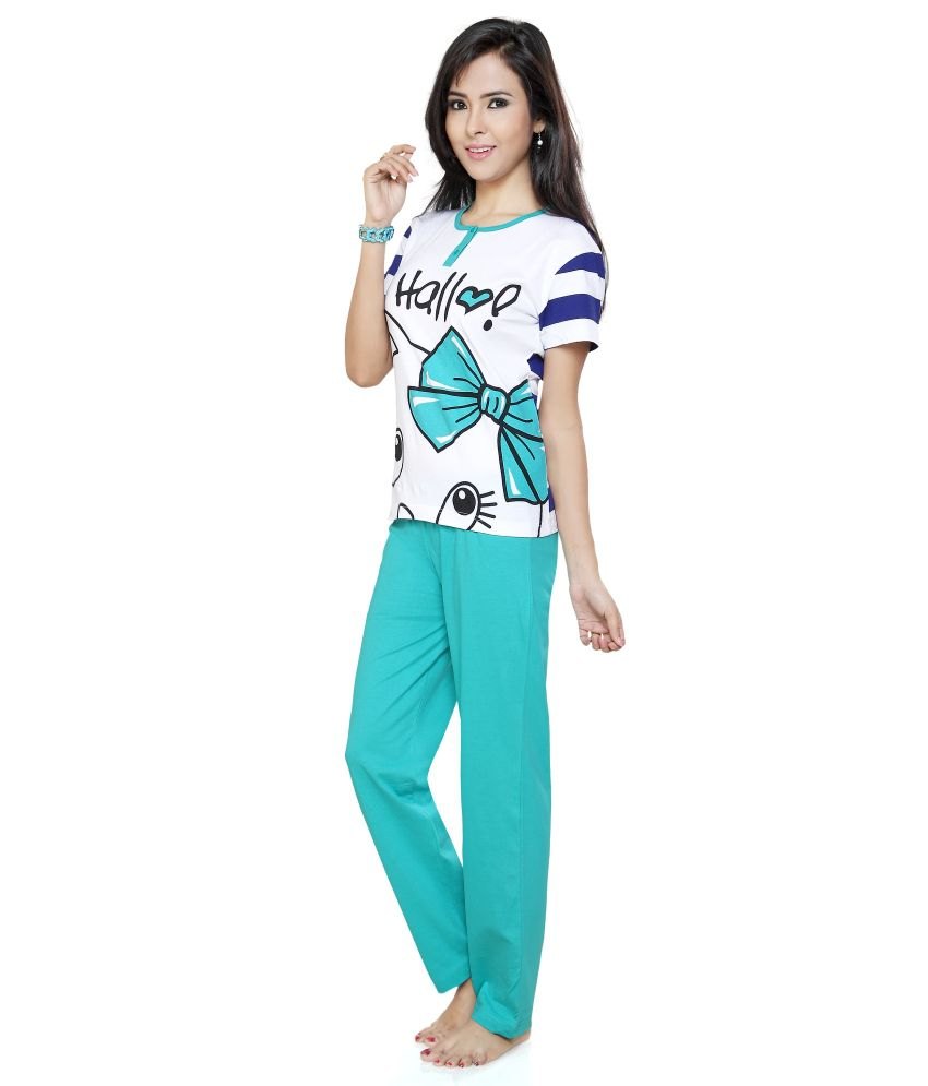4783be9c962e Flamingo Lingerie Turquoise Cotton Pajamas Flamingo Lingerie Turquoise  Cotton Pajamas ...