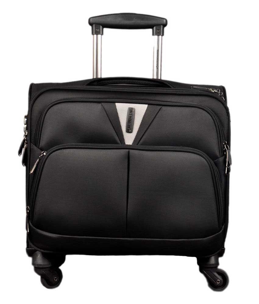 Sammery Black Polyester 4 Wheel Laptop Trolly Bag
