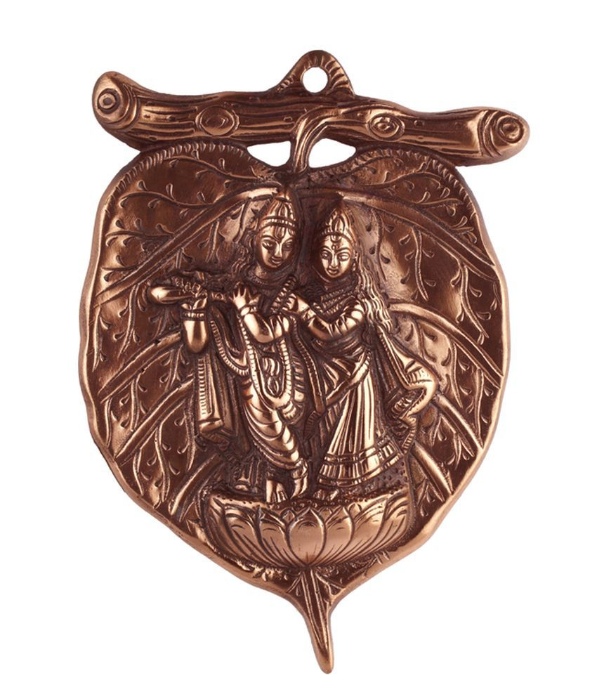 Radha Krishna Ji Taglist Page 1 - Advitiya black metal radha krishna ji idol leaf shape wall hanging plate