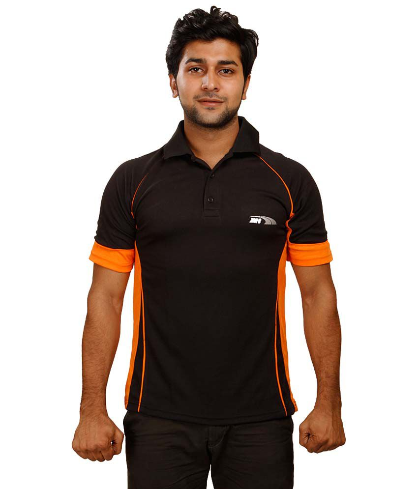 Zinc Black Polyester Polo T-Shirt