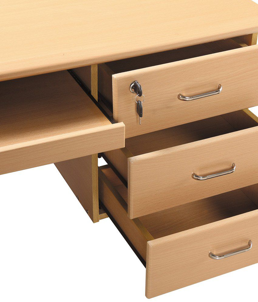 3 Drawer Computer Table in Natural Finish - Buy 3 Drawer ...