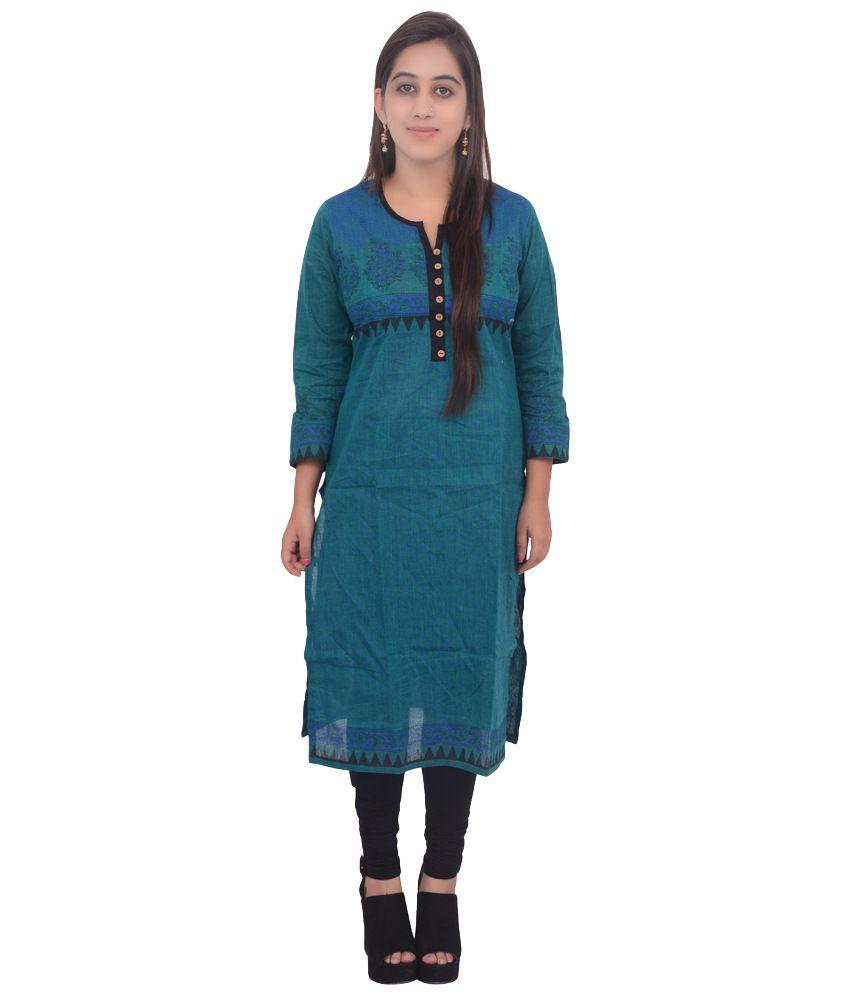 Amalya Green & Blue Khadi Printed Kurti