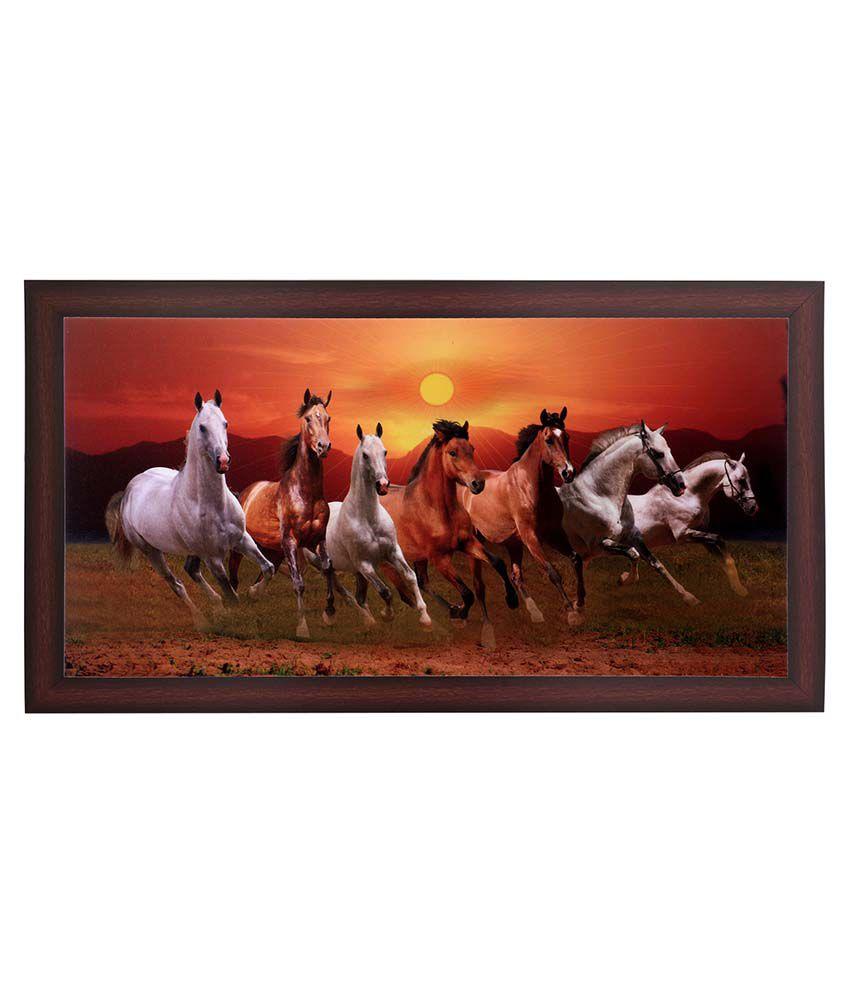 BM Traders 7 Horses Wooden Photo Frame