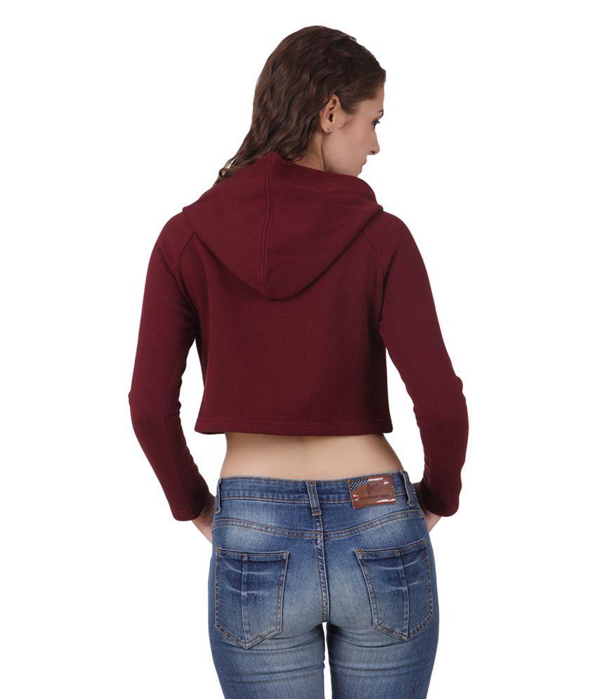668e489427122 Texco Maroon Cotton Full Sleeves Women s Crop Top - Buy Texco Maroon ...