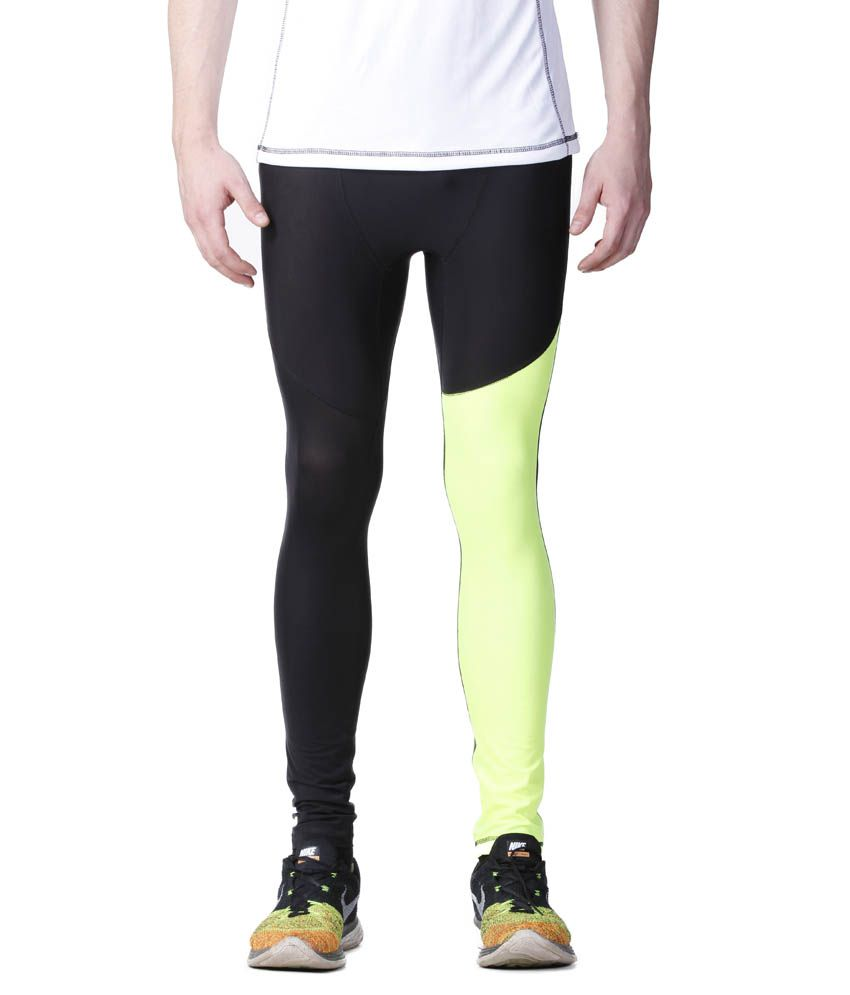 Atheno Black And Green Polyester Sports Gym Legging