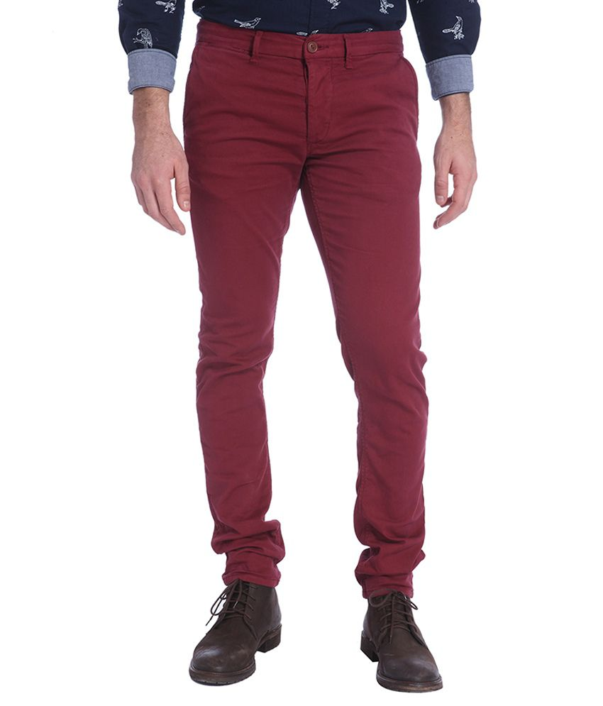 Jack & Jones Maroon Slim Fit Casual Trousers