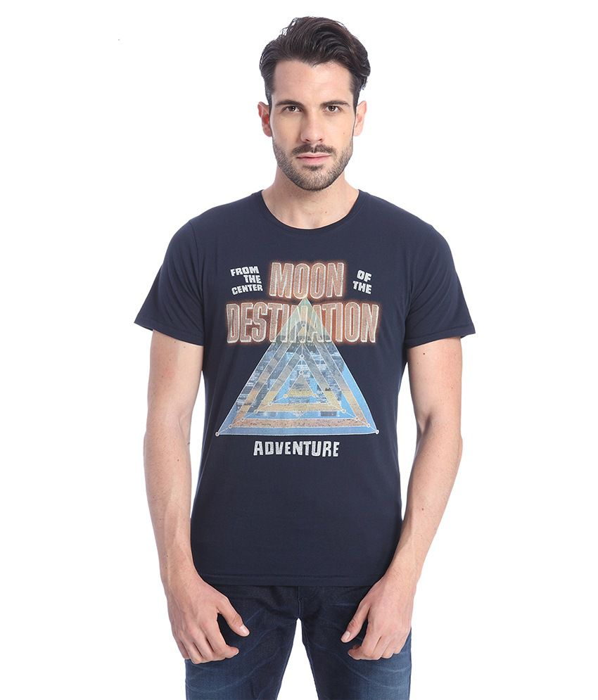Jack & Jones Navy Half Sleeves T-Shirt