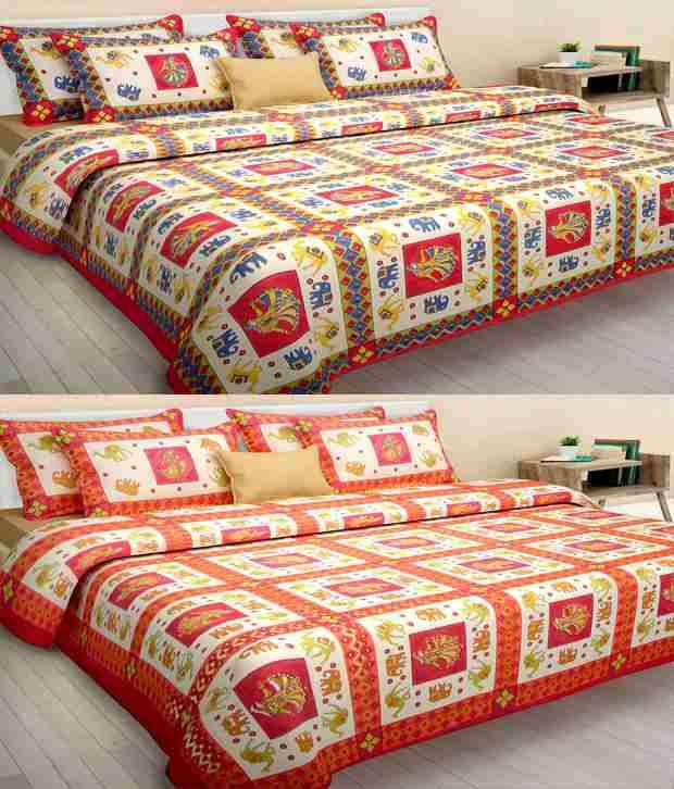 Kismat Collection Sanganeri Combo Of 2 King Size Double Bedsheet With 4 Zipper Pillow Cover