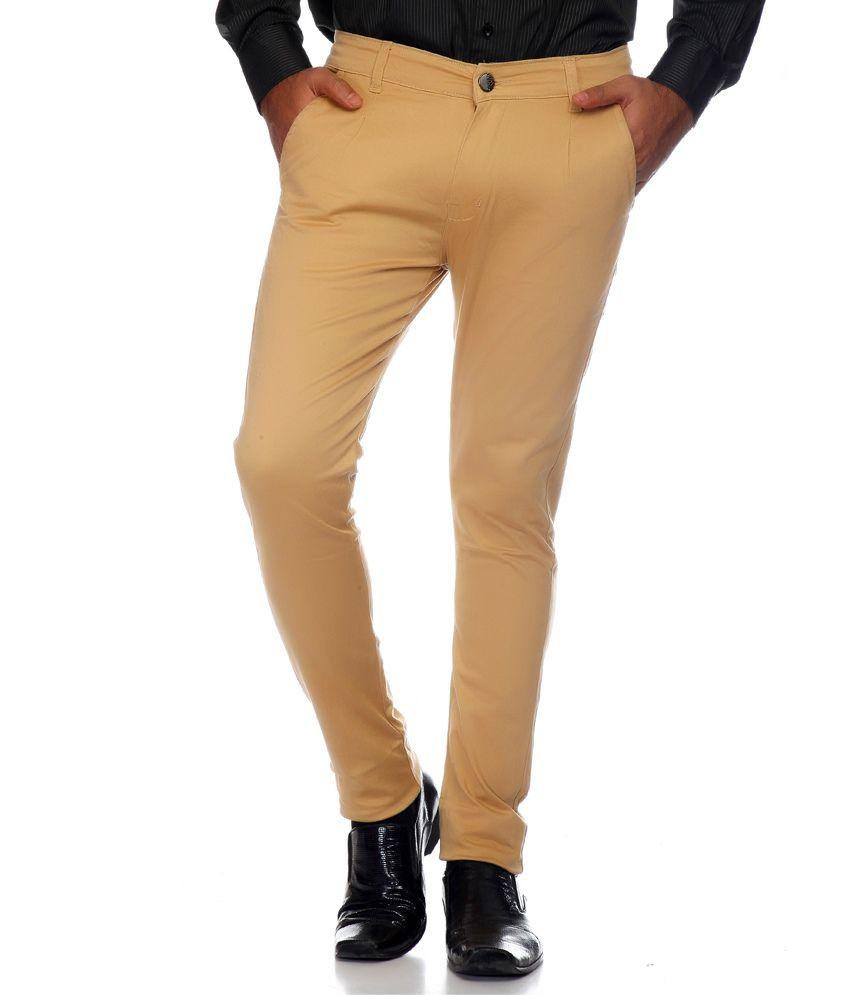 AVE Brown Slim Fit Formal Chinos