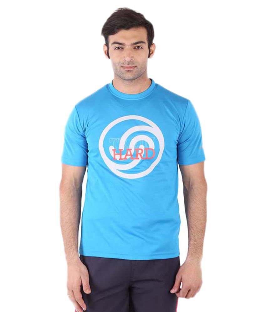 Fitsoul Blue & Orange Polyester T-Shirt
