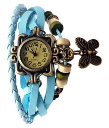 Pappi Boss Fancy Designer Casual Leather Multi-Strap Light Blue Butterfly Bracelet Watch for Girls, Ladies