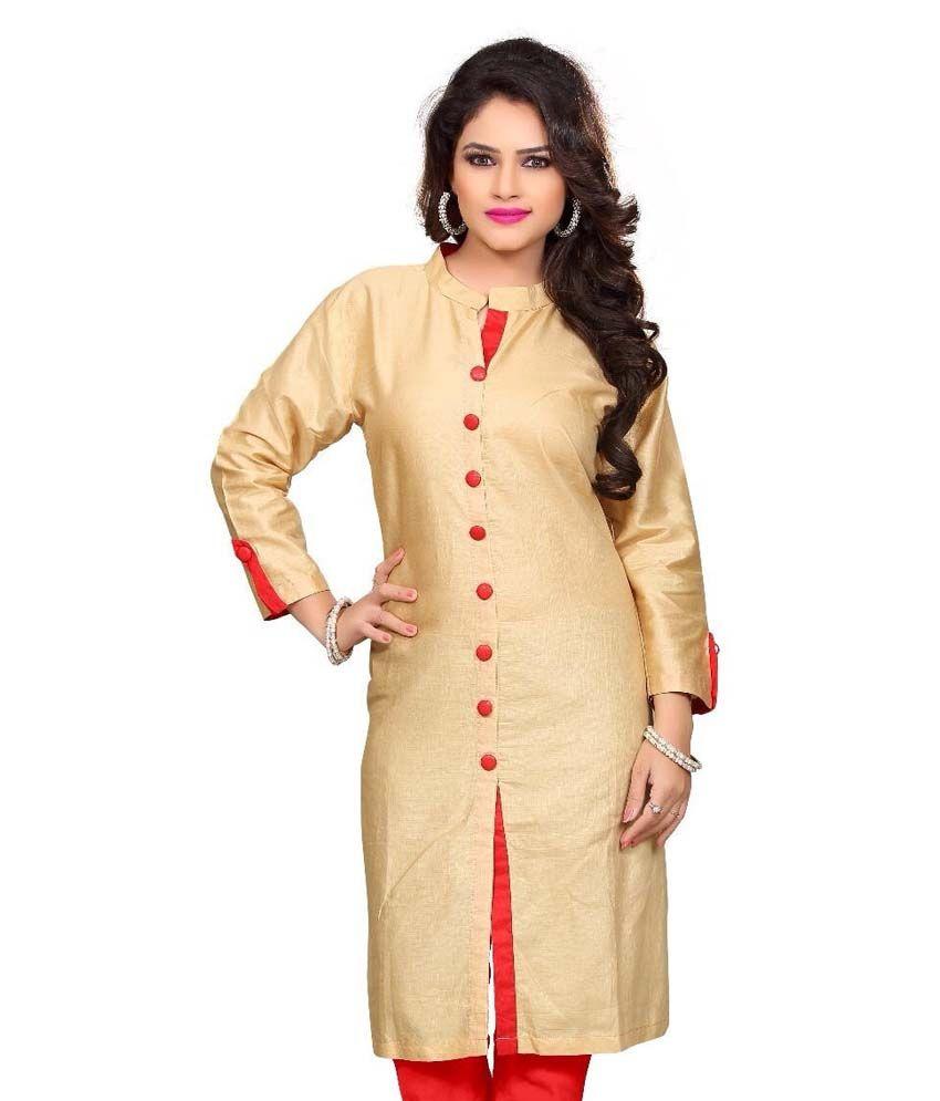 Prabal Fine Chem India Beige Cotton Kurti- Pack of 2