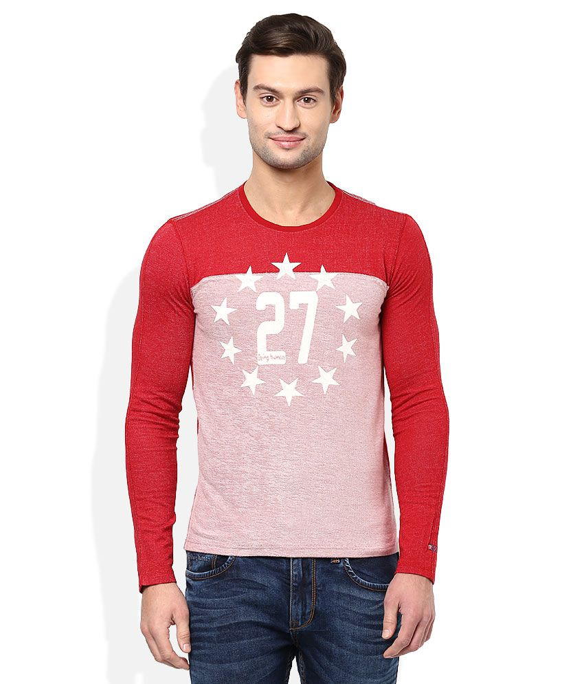 Being Human Red Round Neck Full Sleeves T Shirt Buy Being Human
