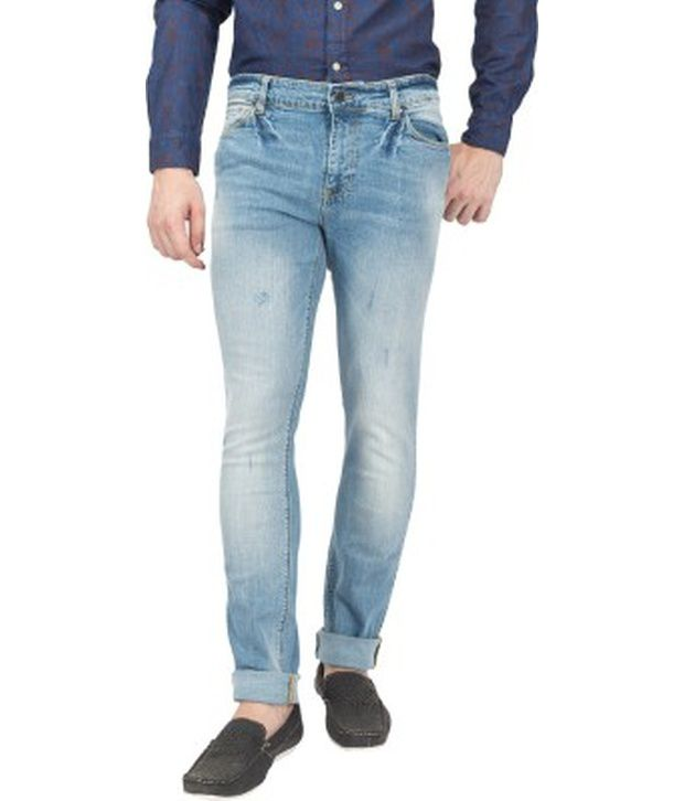 Blue Saint Blue Cotton Slim Fit Jeans