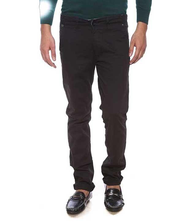 Spykar Black Slim Fit Casual Flat Trousers