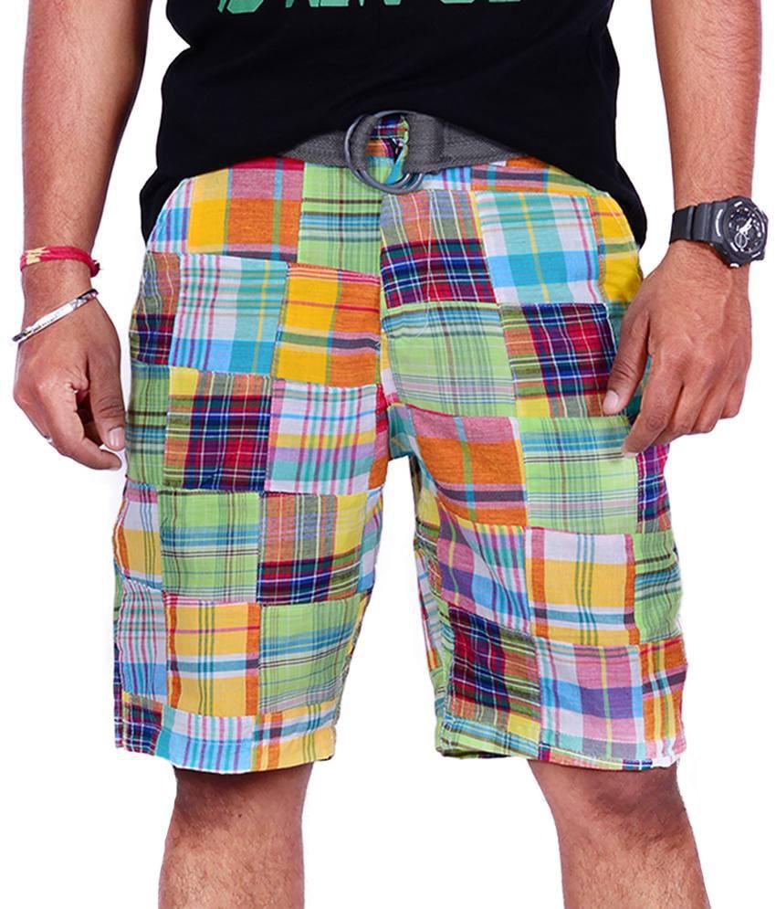 Srisree Multicolor Cotton Checks Shorts
