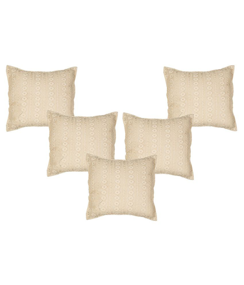 Vke Product Beige And Black Cotton Cushion Covers - Pack Of 5