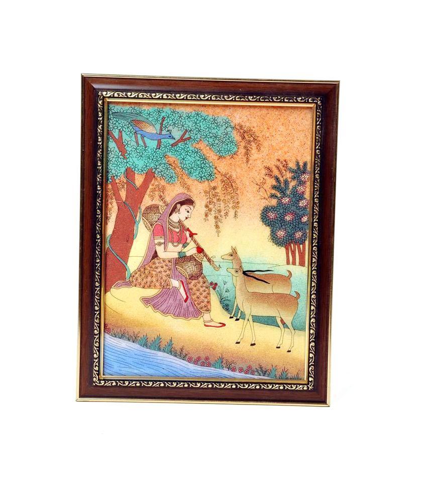 Kiran Udyog Brown Wooden Landscape Painting