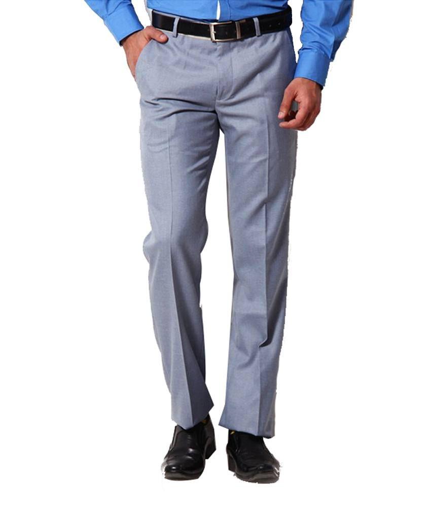 Librazo Grey Slim Fit Formal Flat Trousers