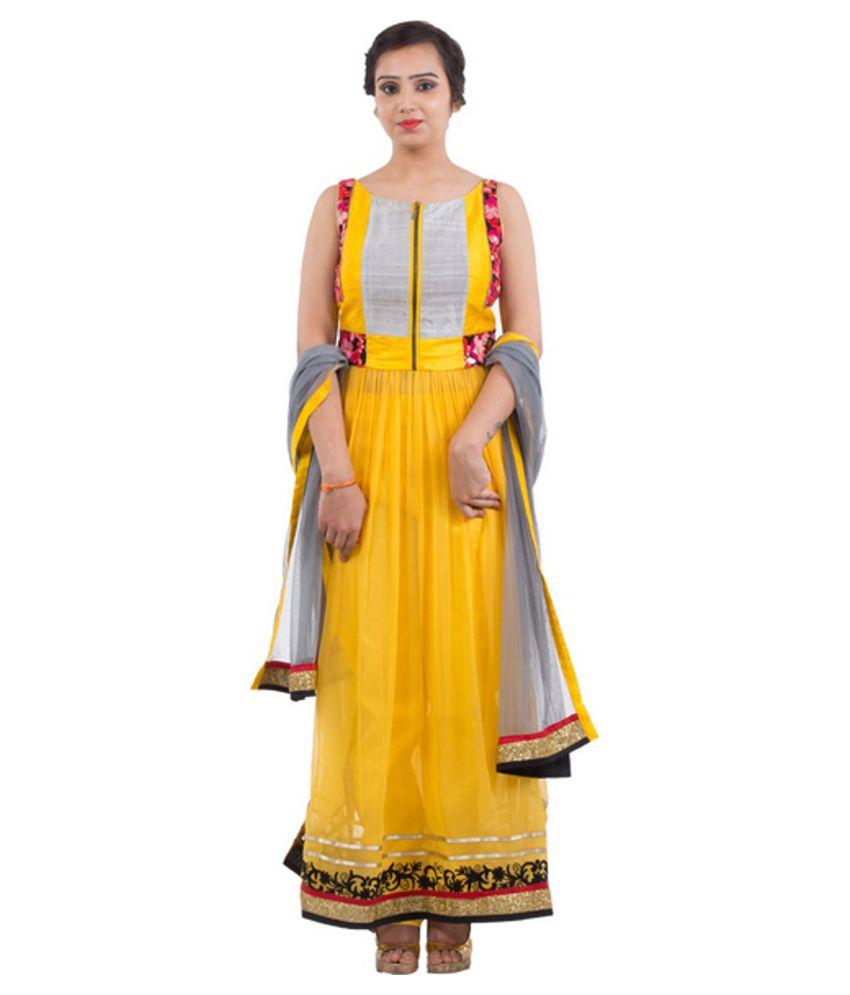 Sabhya Yellow Georgette Semi Stitched Dress Material