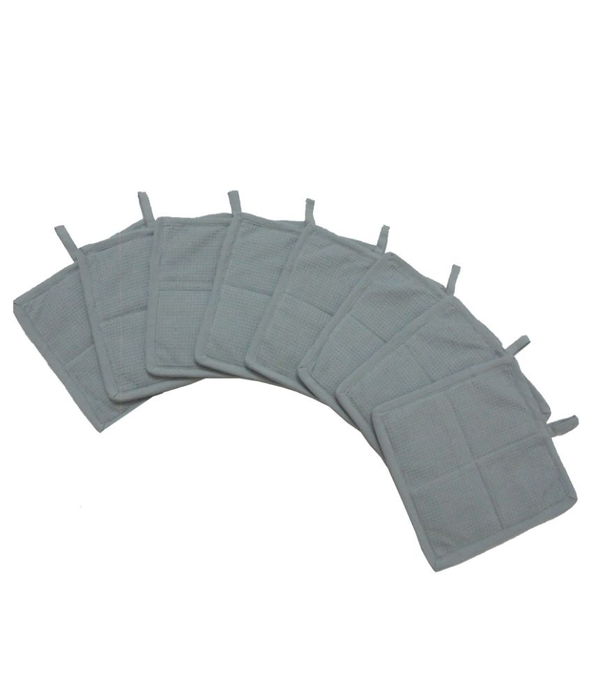 Tidy Grey Cotton Kitchen Pot Holder Pack Of 8