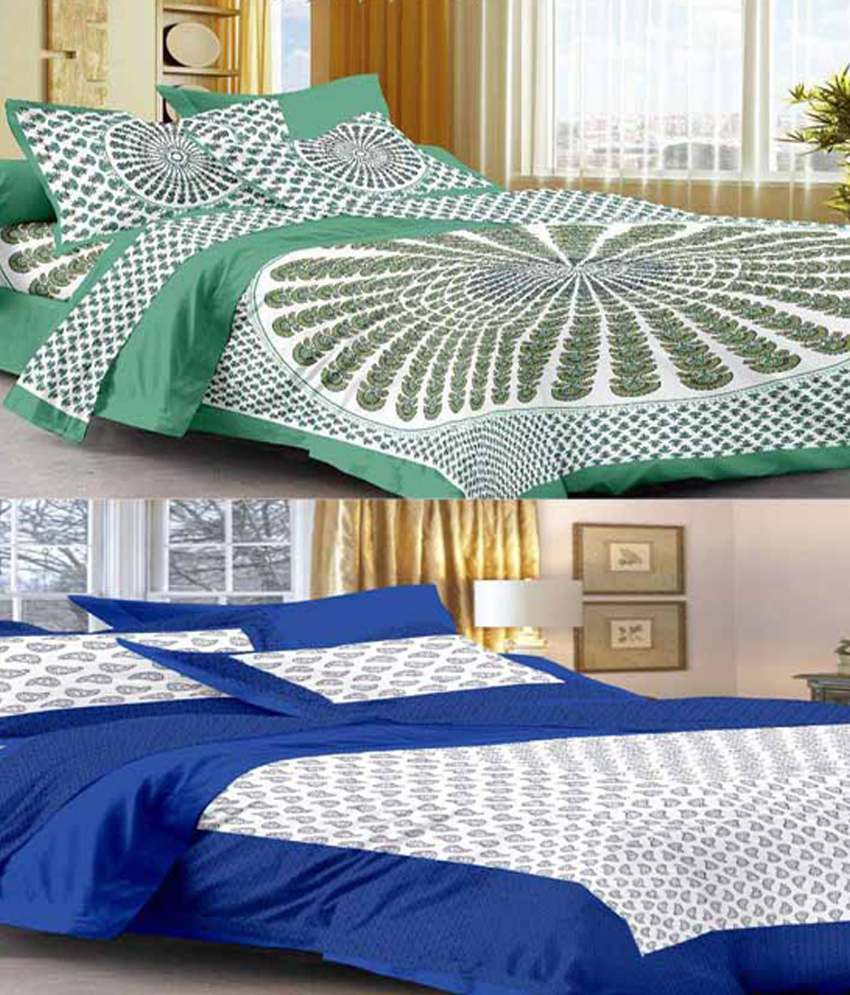 Uniqchoice 2 Multicolor Cotton Double Bedsheets with 4 Pillow Covers