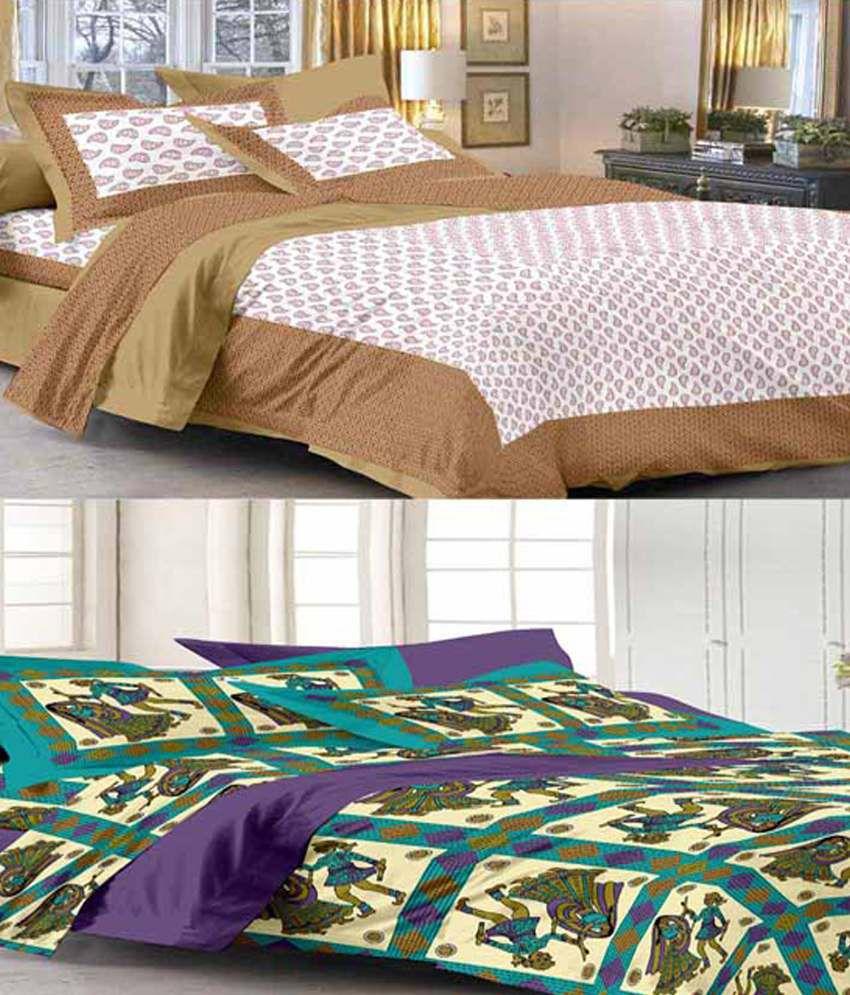 Uniqchoice 2 Multicolor Cotton Double Bedsheets with 4 Pillow Covers