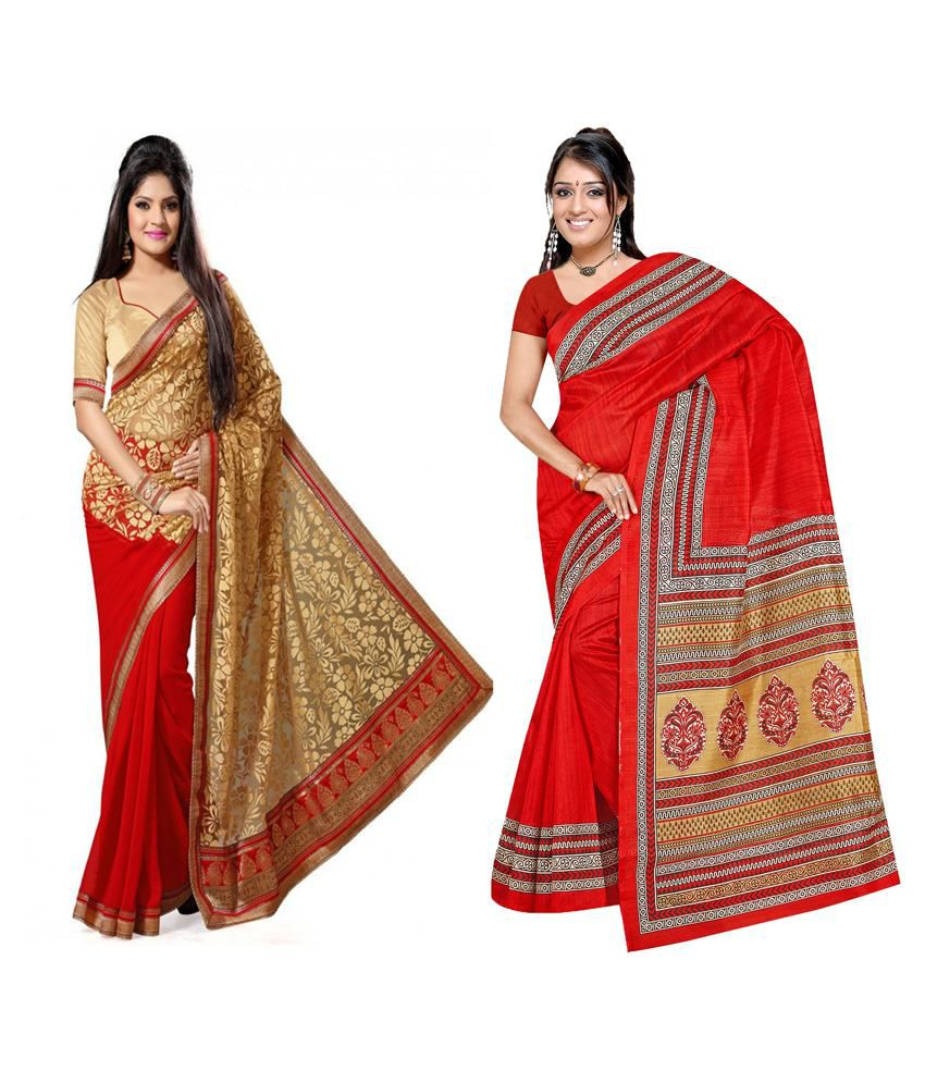 Indianefashion Designer Multi Bhagalpuri,Brasso Pack Of 2