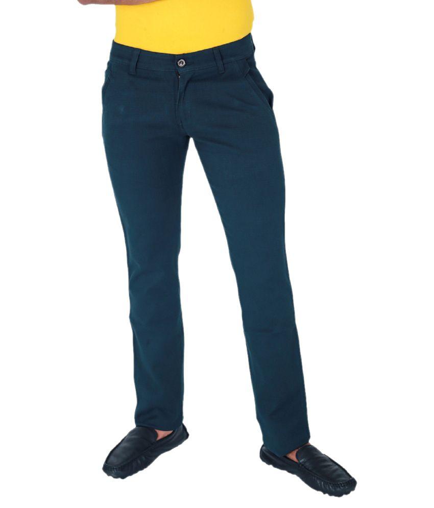 Monarch Blue Slim Fit Formal Flat Trouser