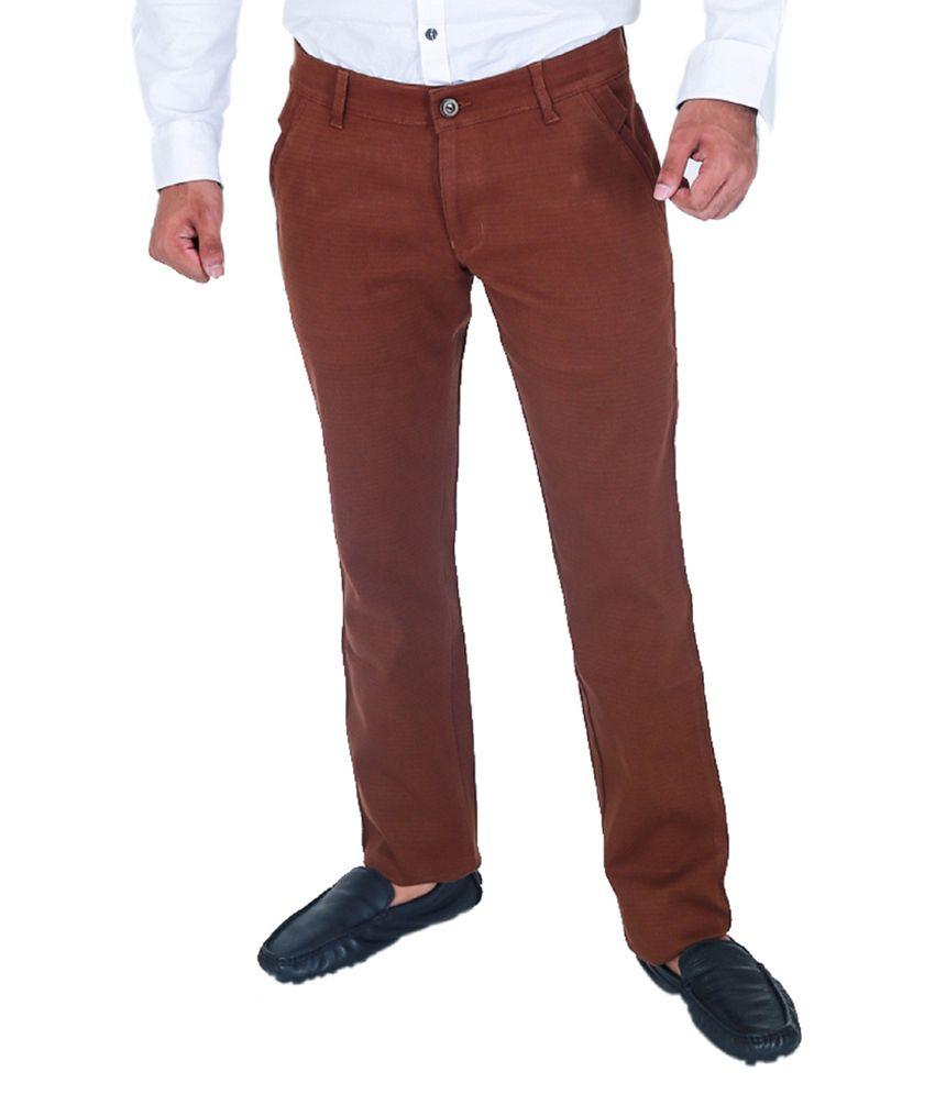 Monarch Brown Slim Fit Formal Flat Trouser