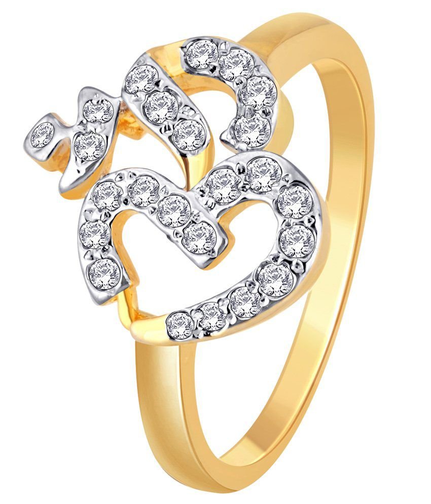 Myzevar Deity 18K Yellow Gold Plated Cubic Zirconia Sterling Silver Ring