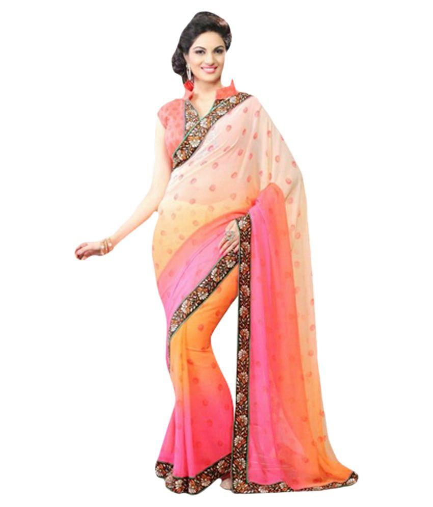 1eda09ace67 Rang Varsha Sarees Multi Pure Georgette Saree - Buy Rang Varsha Sarees  Multi Pure Georgette Saree Online at Low Price - Snapdeal.com