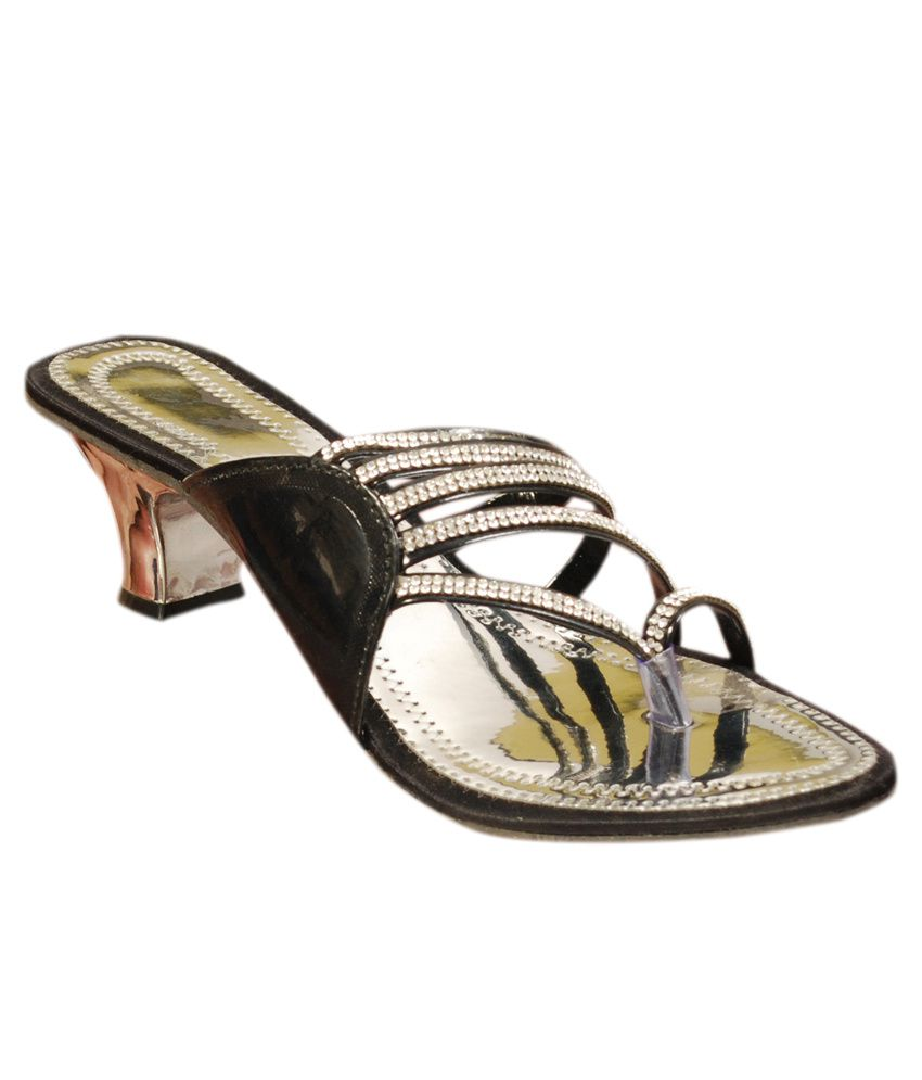 The Scarpa Shoes Silver & Black Heeled Slip-Ons