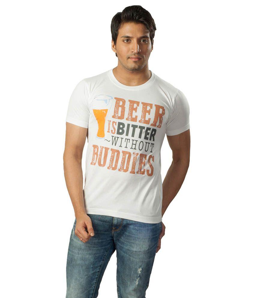 Voce Round Neck White Tshirt