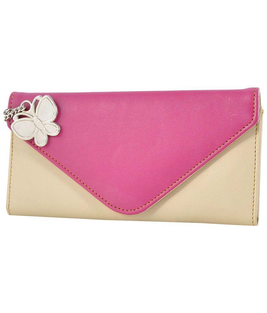 Butterflies Pink & Beige PU Wallet