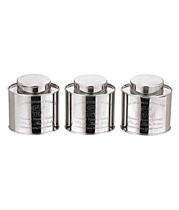 Dynore Oval crome Tea,Coffee  amp; Sugar Stainless Steel Canisters