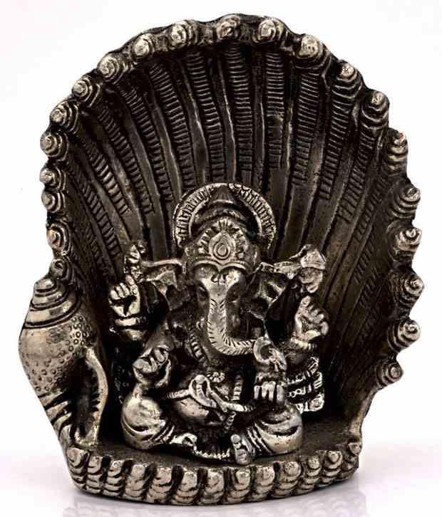 Tradition India White Aluminium Ganesha Idol