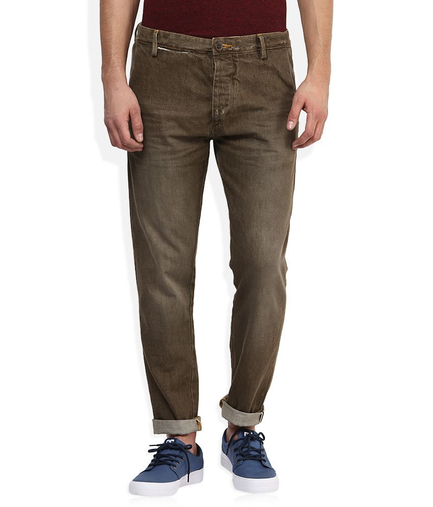 Voi Brown Dark Wash Slim Fit Jeans