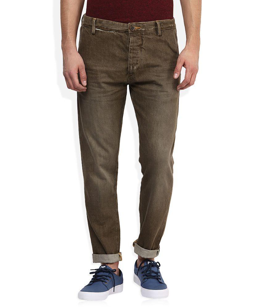 Voi Brown Dark Wash Slim Fit Jeans