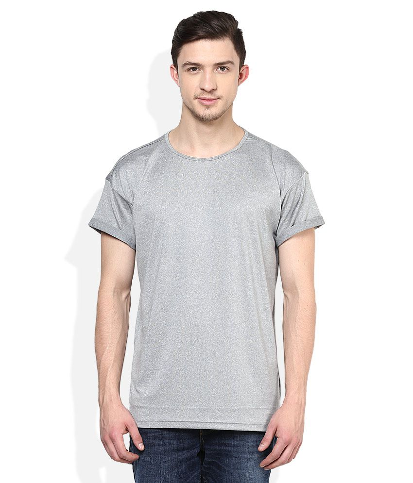 Voi Jeans Grey Solid T-Shirt