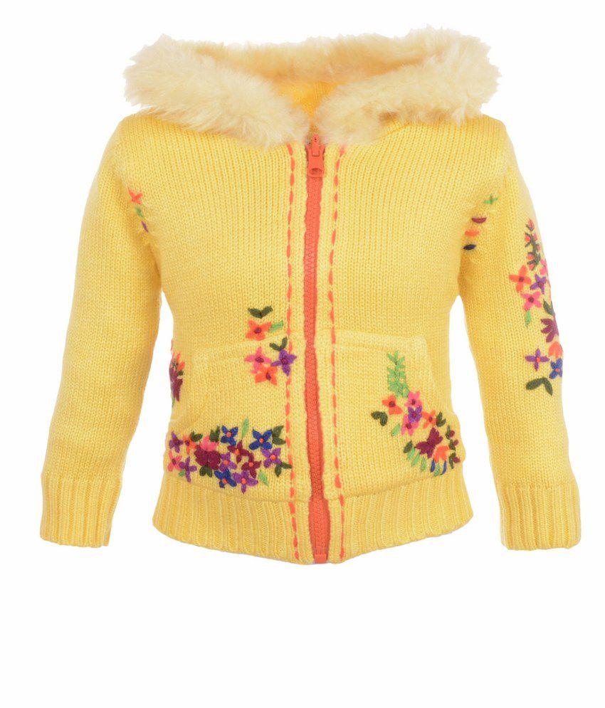Yellow Apple Yellow Acrylic Full Sleeves Jacket With Hood