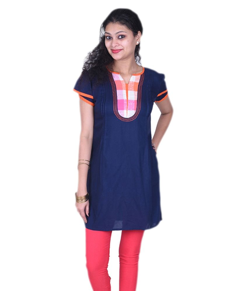 Neelufer Creations Blue Poly Rayon Kurti