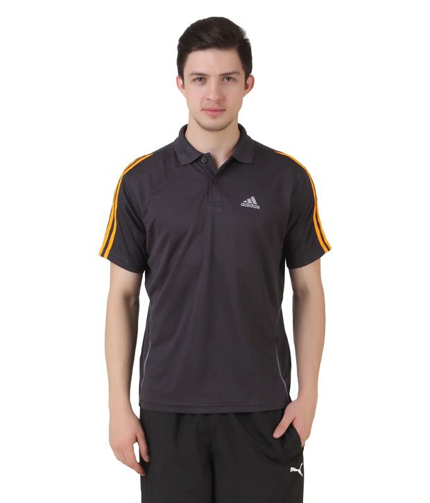 Adidas Black Half Sleeves Solid Polo T-Shirt
