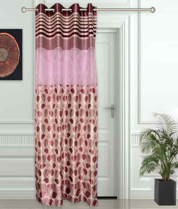 Story@Home Single Door Eyelet Curtain Floral Pink