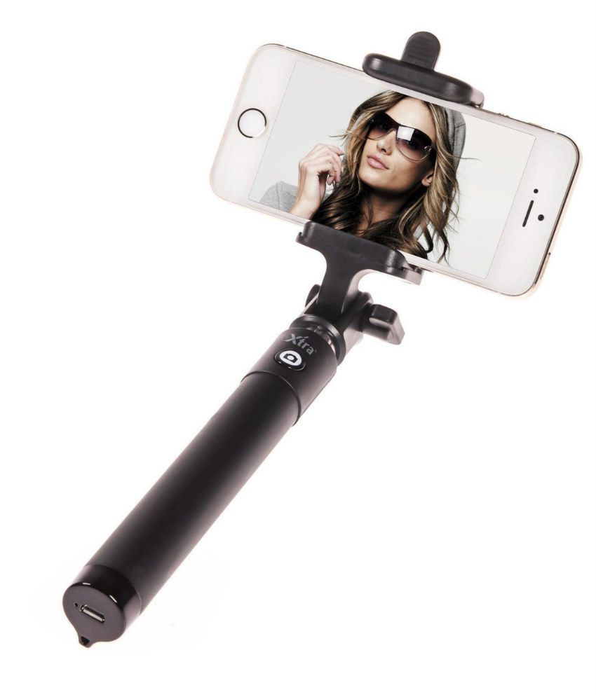 Xtra Selfie Stick Premium with Built in Bluetooth Remote Button on the Handle for Smart Clicks Apple & Android Devices